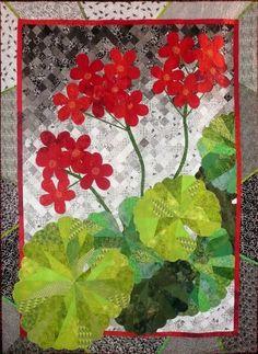 """Jill's Geranium"" by Jean K. Smith.  Flower art quilt. Photo by Sue Garman: May 2011."