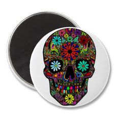 $4.20 Refrigerator Magnet; Painted Skull with Flowers and Other Colorful Designs