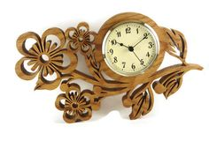 Wood Pansy Flower Wall Hanging Clock Handmade From Oak Wood By KevsKrafts Wood Pansy Flower Wanduhr handgefertigt von KevsKrafts Hanging Clock, Hanging Flower Wall, Clock Art, Diy Clock, Clock Flower, Fleur Pansy, Paint Your House, Wall Clock Design, Wood Clocks