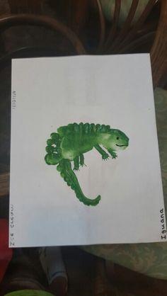 Letter I footprint craft. I for Iguana