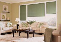 Living con cortinas roller black out verdes combinando con la decoración