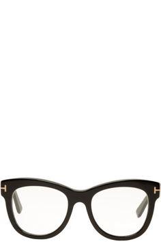 6b2e24dd71d5 Acetate cat eye optical glasses in 'shiny' black. Logo hardware at hinges.