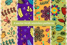 #abstract  #flower #floral #flora #birds #seamless #patterns #fauna #coo #sing #animal