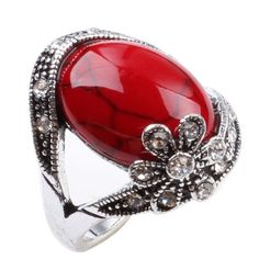 CA Flower Style Red Turquoise Silver Fashion Women's Ring Jewelry - http://www.spiritualgemstonejewelry.com/ca-flower-style-red-turquoise-silver-fashion-womens-ring-jewelry/