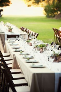 long banquet tables - 3 main center pieces with smal single stem florals in small vases in between (4)