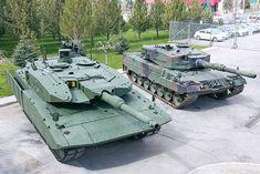 mit Zusatzpanzerung wird im Vergleich zur Serienversion des Leopard 2 A4 (r.) auf den ersten Blick deutlich. Turm und Wanne – so heißt der Panzer-Rumpf – bieten einen 360-Grad-Rundumschutz ...