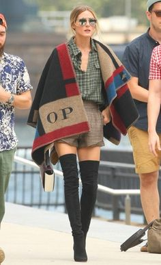 Over-the-knee black boots + Burberry blanket cape
