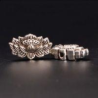 100 PCS 15mm*8.5mm  Vintage Metal Alloy Antique Silver Lotus Flower Nepal Spacer Beads Hole Bead Bodhi Bead DIY Parts 467bz