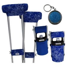 Fashion Trends for Crutch Accessories - Tired of black & white? Try blue & white! From Milan to New York runways are showing blues, whites & florals.  Create your own catwalk in this blue hibiscus crutch covers, pads & bag ensemble by Crutcheze! #crutchgear
