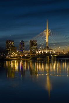 Esplanade Bridge over Red River at Dusk, Winnipeg, Manitoba, Canada 🍁 O Canada, Canada Travel, The Places Youll Go, Places To See, Ontario, Voyager Loin, Red River, Countries Of The World, Beautiful Places