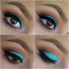 Glitter aqua eye makeup x