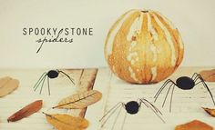 DIY Spooky Stone Spiders found via #tipjunkie.