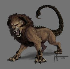 What I understand a traditional manticore to be, though the face is a little lion-y