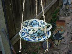 Hanging Teacup Bird Feeder or Bird Bath or Planter made from a Large Vintage Teacup and Matching Saucer on Etsy, $23.00