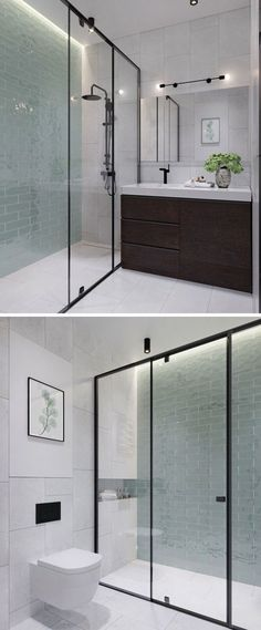 In this modern bathroom floor-to-ceiling light green tiles add a soft touch of color to the otherwise black white and wood interior. In the black framed glass enclosed shower there& hidden lighting to add a calming glow to the bathroom. Bathroom Renos, Bathroom Flooring, Small Bathroom, Bathroom Black, Bathroom Ideas, Bathroom Wall, Light Bathroom, Bathroom Colors, Bathroom Vanities