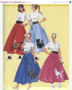 Retro 50s Malt Shop Poodle Skirt And Jacket Costume Pattern By McCalls 6234 Adult 12 14 TLCs Treasures Etsy Listing 166007025 R