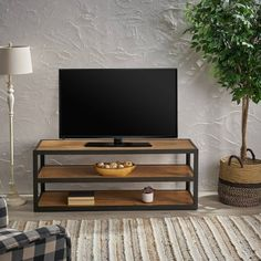 Perth Industrial Media Console Antique - Christopher Knight Home, Brown Welded Furniture, Tv Unit Furniture, Steel Furniture, Industrial Furniture, Sofa Table Decor, Muebles Living, Living Room Inspiration, Wood Shelves, Living Room Decor