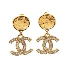 Lot 56288 Chanel 1983 Diamante Logo Earrings Heritage Auctions Artfact ❤ liked on Polyvore