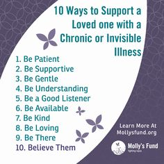 10 ways you can support someone with a chronic or invisible illness. Do you have lupus or another invisible or chronic illness? In what ways can those around you support you best? Did we miss anything on this list? Please share your thoughts. Chronic Migraines, Chronic Illness, Chronic Pain, Rheumatoid Arthritis, Mental Illness, Lupus Awareness, Ehlers Danlos Syndrome, Headache Relief, Chronic Fatigue Syndrome