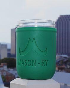 Mason Jar Green Koozie