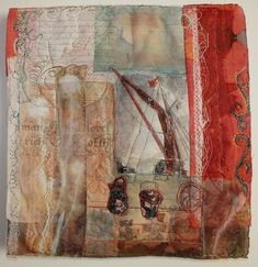 Red Barge Sails 40x40cm 4 Travel and textile art: Less is more