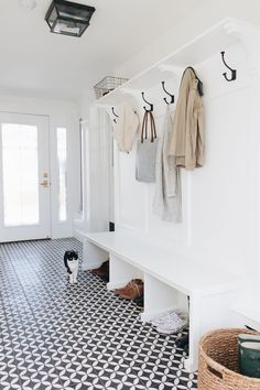 I thought I would finally share the before and afters of our mudroom renovation we did a few months ago While I was shooting these pictures for this … – Mudroom Entryway Vestibule, Mudroom Laundry Room, Dog Rooms, Room Closet, White Walls, New Homes, Indoor, House Design, House Styles