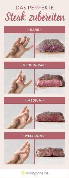 Das perfekte Steak: Mach's wie die Kochprofis! Bestimmt mit dem Fingertest den ungefähren Gargrad!
