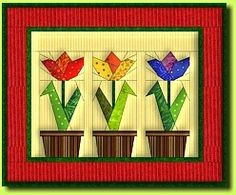 Tulips Quilt Pattern: FREE PATTERN for paper piecing. Quilt size 39 x 33 cm (15 ? x 13 in). These patterns are intended exclusively for your own personal use. Distribution and commercial use (e.g. sale of quilts based on the patterns) are expressly prohib.