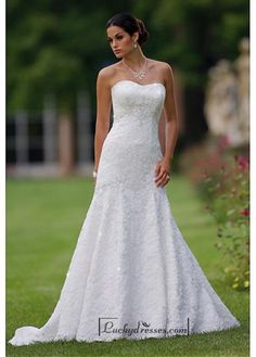 Beautiful Elegant Lace A-line Sweetheart Wedding Dress In Great Handwork Sale On LuckyDresses.com With Top Quality And Discount