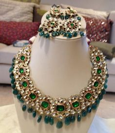 kundan, bridal necklace, emeralds and kundan, u shape bridal necklace with emeralds, ,Sitara
