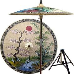 Asian Spring (Sand)    This extraordinary and artistic patio umbrella depicts the migration of Oriental cranes during the spring season. Each season represents a different part of life with spring being synonymous with rebirth. Great for any outdoor setting.