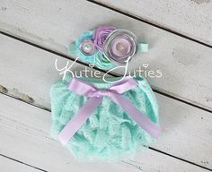 Lavender Aqua & Mint Lace Diaper Cover Headband by KutieTuties