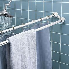 Double Shower Curtain Rod And Towel Bar