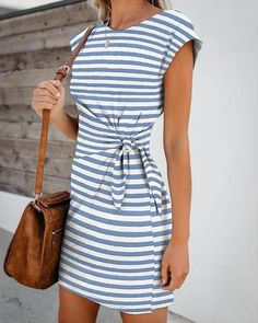 Prom dresses - Short Sleeve Striped Knotted Casual Dress Halter Short Homecoming Dress Source by reppafashion - Casual Dresses For Women, Casual Outfits, Short Sleeve Dresses, Dresses For Work, Clothes For Women, Elegant Dresses, Sexy Dresses, Formal Dresses, Pretty Dresses