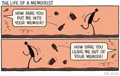 A cartoon for the Guardian Review about memoirs.