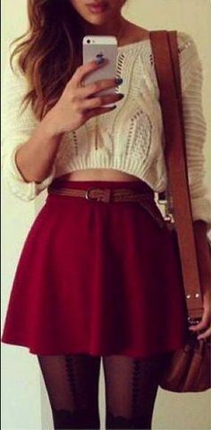 White crop top sweater + red skirt