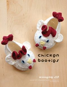 Chicken Baby Booties Crochet PATTERN by kittying.com from mulu.us | This pattern includes sizes for 0 - 12 months.