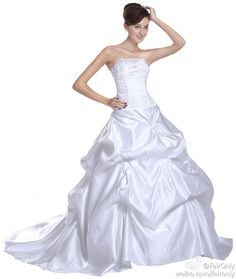 FairOnly Stock Strapless Satin Wedding Dresses Bridal Gown Size 6 8 10 12 14 16