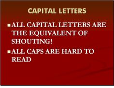 10 Font Tips for Powerpoint That Every Presenter Should Know: Font Tip #5 - Don't Use All Capital Letters