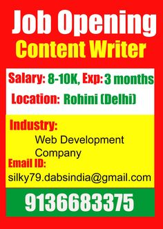 Urgent Requirement for Content Writer