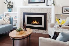 Series shown with Decorative Rock Kit, Landscape Outer Surround and Painted Nickel Inner Bezel Fireplace Showroom, Fireplace Stores, Stove Fireplace, Valor Fireplaces, Gas Fireplaces, Modern Fireplaces, Contemporary Fireplace Designs, Rock Decor, Fireplace Inserts