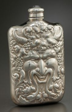 Tiffany & Co. sterling silver flask depicting Bacchus, c1900