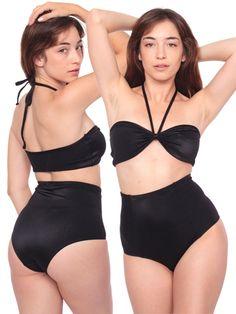 Rib Nylon Spandex High-Waist Brief   High-Waist Briefs   Women's Swimwear   American Apparel