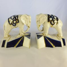 Royal Dux Figurines and Vases, Royal Dux Art Deco Elephant Bookends A fabulous pair of Royal Dux Deco elephants dated Elephant Book, Elephant Illustration, Fabric Animals, African Elephant, Art Deco Design, Love Art, Decorative Accessories, Art Nouveau, Geometric Shapes