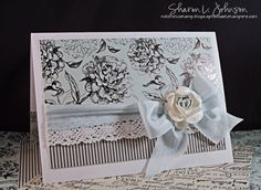 This is an anniversary card using Kaisercraft paper, silk, lace and a rose.