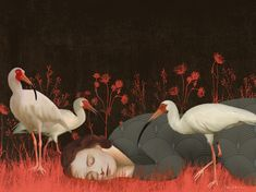 Surrealism Painting, The Dreamers, Bird, Cyberpunk, Mixed Media, Soup, Paintings, Illustrations, Paint