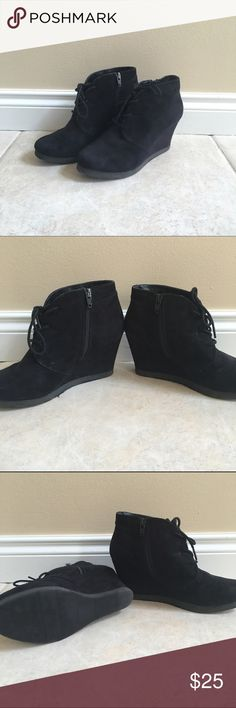 Black lace up, wedge heels! Black faux suede, lace up, wedge heels Shoes Ankle Boots & Booties