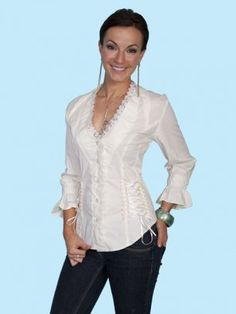 A Corset that does not bind! Corset & Lace : Womens Western Blouse