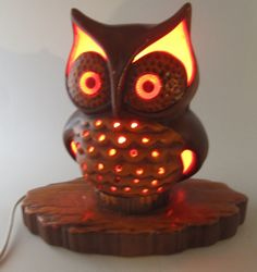 "Vintage Mid Century Retro Ceramic Pierced Owl Lamp Night Light W/ Base 9"" by 9"""
