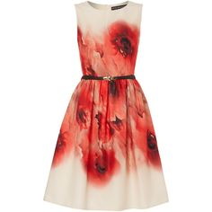 Little Mistress Sleeveless Printed Belted Fit and Flare Dress ($69) ❤ liked on Polyvore featuring dresses, clearance, cream, cream dress, red dress, cream sleeveless dress, sleeveless print dress and crew neck dress